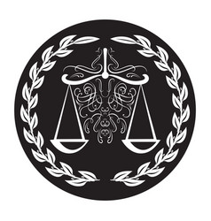 lawyer sign scale in laurel wreath on black vector image