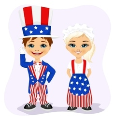 Little boy and girl dressed up like Uncle Sam vector