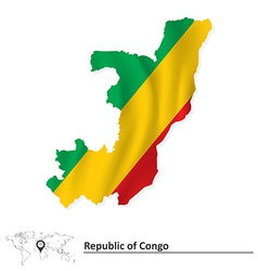 Map of Republic of Congo with flag vector image