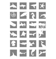 marine mammals icons vector image