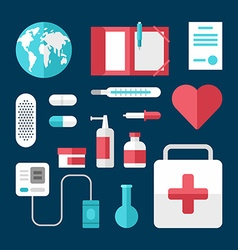 Medical icons and objects flat style medicine vector