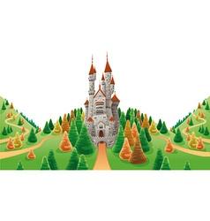 Medieval castle in land vector