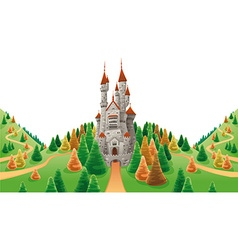 Medieval castle in the land vector image