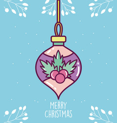 merry christmas celebration decorative ball with vector image