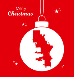 merry christmas theme with map of milwaukee vector image