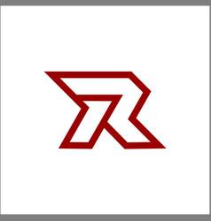 Mono line r letter logo template icon vector