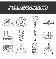 Mountaineering icon set vector
