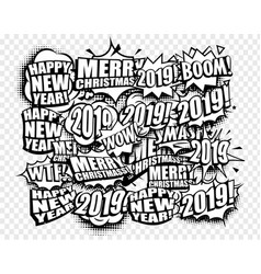 new year cartoon comic strip speech bubbles vector image