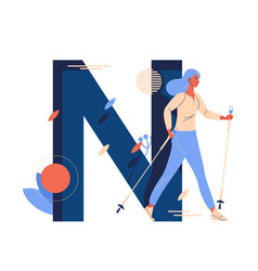 Nordic walking woman with large letter n vector