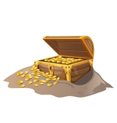 Open wooden pirate chest in sand with Golden coins vector image