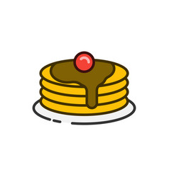 Pancake stack color outline icon vector