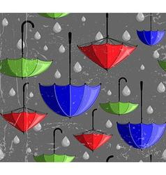 Pattern made umbrellas and rain drops vector