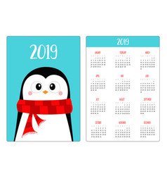 penguin wearing red scarf merry christmas simple vector image
