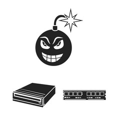 Personal computer black icons in set collection vector