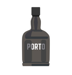 porto in black glossy bottle with silver sign vector image vector image