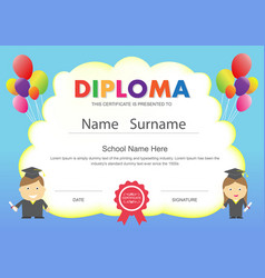 preschool kids elementary school diploma vector image