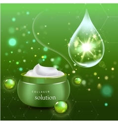 Realistic Collagen Cream Bottle on green vector