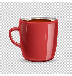 realistic mug cup of coffee top view vector image