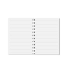 realistic opened horizontal lined notebook vector image