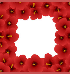 red hibiscus - rose of sharon border2 vector image