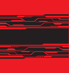red line circuit futuristic technology on black vector image