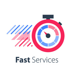 red stopwatch in motion fast services vector image
