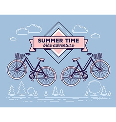 Retro bicycle with basket and text summer vector