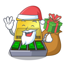 Santa with gift cartoon cash register with a money vector