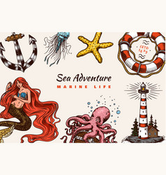 sea poster nautical banner or background vector image