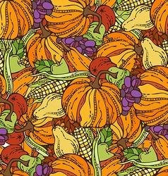 Seamless harvest pattern vector