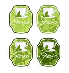 Set label with cup with leaf stevia vector