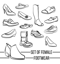 Set of drawn women s footwear lines vector image