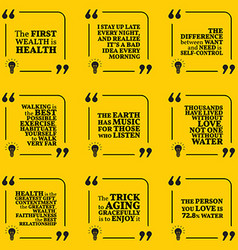 Set of motivational quotes about health vector