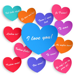 Set of paper hearts vector image
