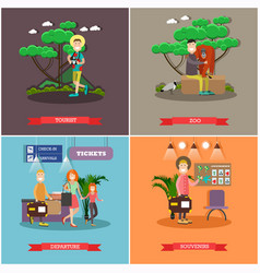 Set of tourist posters banners in flat vector