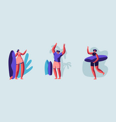 Set young surfers characters with surf boards vector