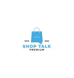 Shop bag market consulting chat talk logo design vector