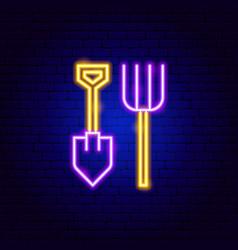 shovel pitchfork neon sign vector image