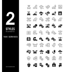 simple line icons taxi services vector image