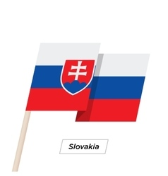 Slovakia ribbon waving flag isolated on white vector