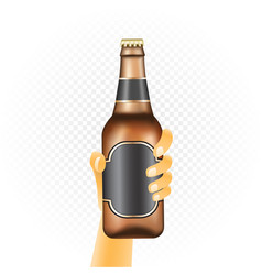 Small beer bottle in hand vector