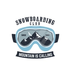 Snowboarding goggles logo and label template vector
