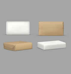 Soap bar and package rectangular mockup template vector