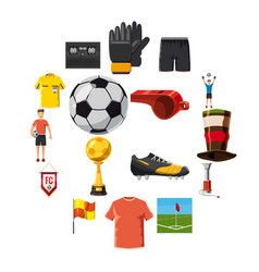 soccer icons set football cartoon style vector image