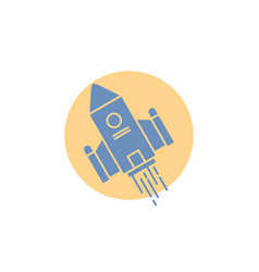 Space craft shuttle space rocket launch glyph icon vector