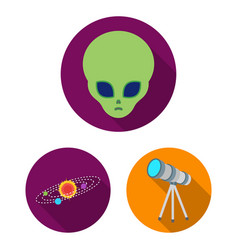 Space technology flat icons in set collection for vector