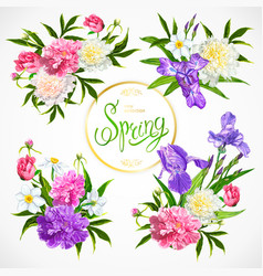 spring collection of floral arrangements vector image