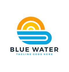 sun beach logo design vector image