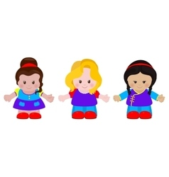 Three funny little girls vector