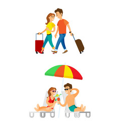 Tourists arrived man and woman with luggages vector